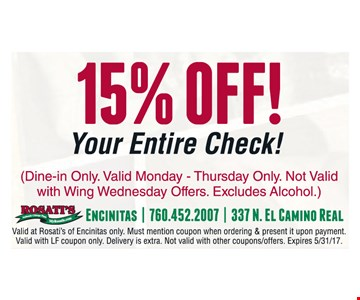 15% off your entire check