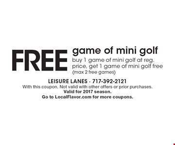 FREE game of mini golf buy 1 game of mini golf at reg. price, get 1 game of mini golf free (max 2 free games). With this coupon. Not valid with other offers or prior purchases.Valid for 2017 season.Go to LocalFlavor.com for more coupons.