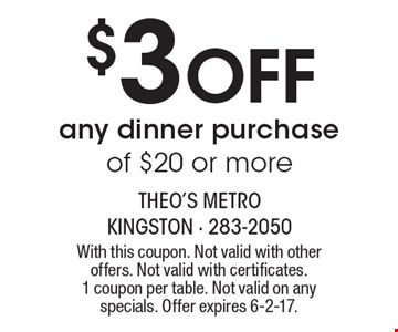 $3 off any dinner purchase of $20 or more. With this coupon. Not valid with other offers. Not valid with certificates. 1 coupon per table. Not valid on any specials. Offer expires 6-2-17.