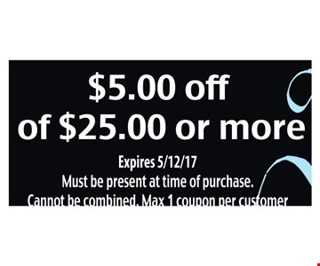 $5 off of $25 or more