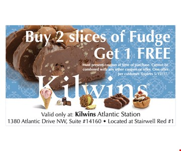 Free slice of fudge with purchase.