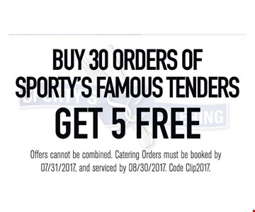 5 Free Orders Of Sporty's Famous Tenders