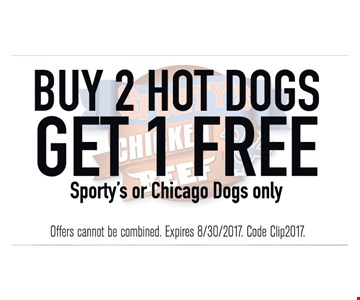Buy 2 Hot Dogs Get 1 Free (Sporty's Chicago Dogs Only)