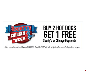 Buy 2 hot dogs get 1 free