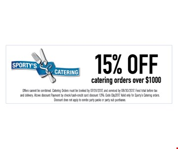 15% off catering orders over $1000.