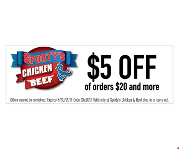 $5 off of orders $20 and more