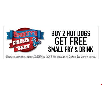 buy 2 hot dogs get free small fry & drink