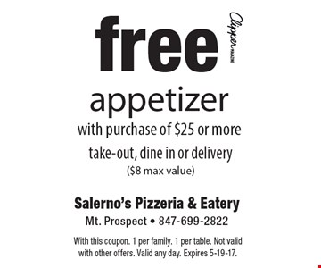 Free appetizer with purchase of $25 or more. Take-out, dine in or delivery ($8 max value). With this coupon. 1 per family. 1 per table. Not valid with other offers. Valid any day. Expires 5-19-17.