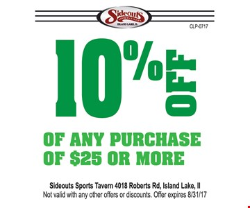 10% off any $25 purchase.