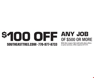 $100 off any jobof $500 or more. With this coupon. Not valid with other offers or prior services. Offer expires 8/11/17.