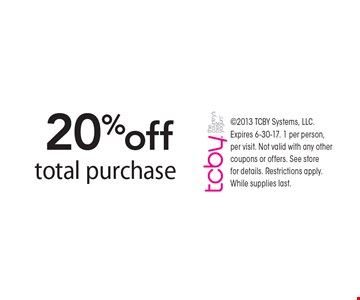 20% off total purchase. 2013 TCBY Systems, LLC. Expires 6-30-17. 1 per person, per visit. Not valid with any other coupons or offers. See store for details. Restrictions apply. While supplies last.