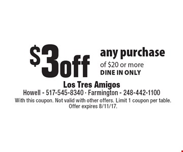 $3 off any purchase of $20 or more dine in only. With this coupon. Not valid with other offers. Limit 1 coupon per table. Offer expires 8/11/17.