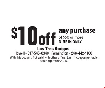 $10 off any purchase of $50 or more dine in only. With this coupon. Not valid with other offers. Limit 1 coupon per table. Offer expires 9/22/17.