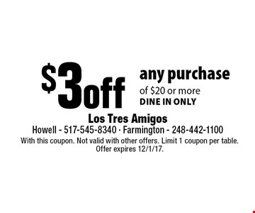 $3 off any purchase of $20 or more. Dine in only. With this coupon. Not valid with other offers. Limit 1 coupon per table. Offer expires 12/1/17.