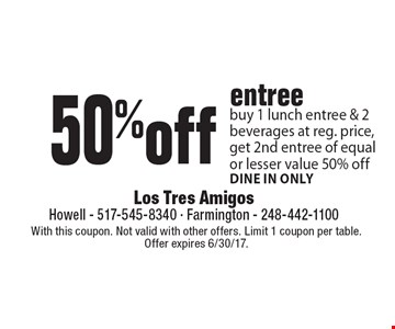 50%off entree buy 1 lunch entree & 2 beverages at reg. price, get 2nd entree of equal or lesser value 50% off. Dine in only. With this coupon. Not valid with other offers. Limit 1 coupon per table. Offer expires 6/30/17.