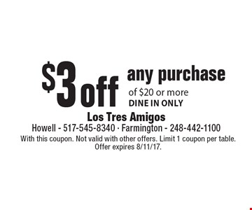 $3 off any purchase of $20 or more. Dine in only. With this coupon. Not valid with other offers. Limit 1 coupon per table. Offer expires 8/11/17.