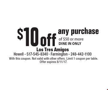$10 off any purchase of $50 or more. Dine in only. With this coupon. Not valid with other offers. Limit 1 coupon per table. Offer expires 8/11/17.