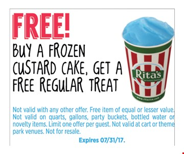 Free Regular Treat with purchase of a frozen custard cake