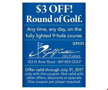 $3 off round of golf