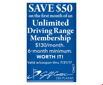 Save $50 on the First Month of an Unlimited Driving Range Membership