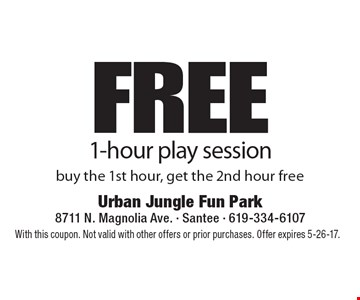Free 1-hour play session. Buy the 1st hour, get the 2nd hour free. With this coupon. Not valid with other offers or prior purchases. Offer expires 5-26-17.
