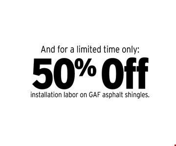 50% off installation labor