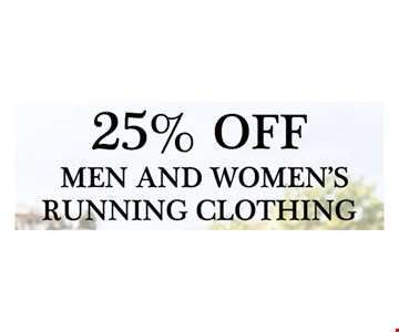 25% off men and women's running clothing