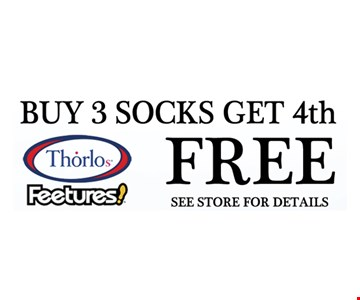 Buy 3 socks, get 4th free. See store for details.