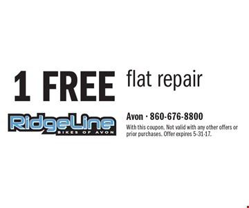 1 FREE flat repair. With this coupon. Not valid with any other offers or prior purchases. Offer expires 5-31-17.
