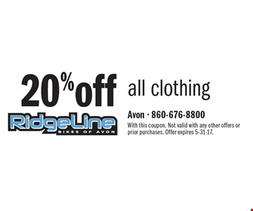 20% off all clothing. With this coupon. Not valid with any other offers or prior purchases. Offer expires 5-31-17.
