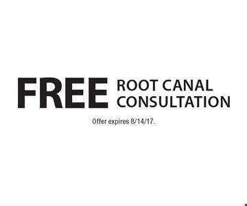 Free Root Canal Consultation. Offer expires 8/14/17.