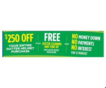$250 off your entire gutter helmet purchase plus Free gutter cleaning and tune up