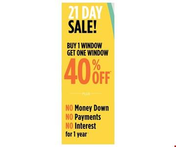 Buy 1 window get one window 40% off