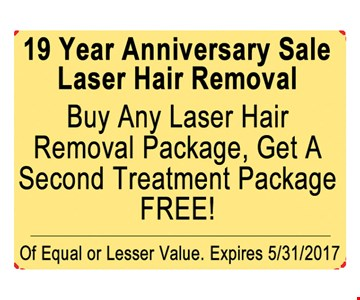 Buy any Laser Hair removal package , Get A second Treatment  Package FREE