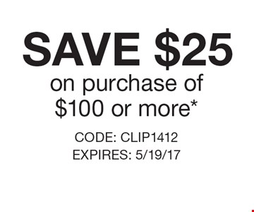 Save $25 on purchase of$100 or more*. CODE: CLIP1412 EXPIRES: 5/19/17 *Cannot be combined with any other offer. Restrictions may apply. See store for details. Edible®, Edible Arrangements®, the Fruit Basket Logo, and other marks mentioned herein are registered trademarks of Edible Arrangements, LLC. © 2017 Edible Arrangements, LLC. All rights reserved.