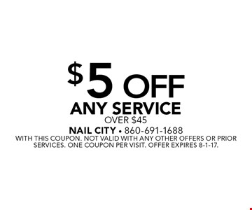 $5 Off Any Service over $45. With this coupon. Not valid with any other offers or prior services. One coupon per visit. Offer expires 8-1-17.
