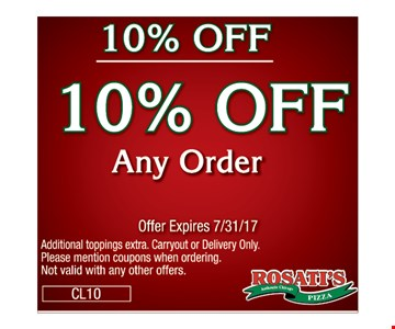 10% off any order