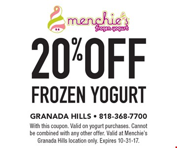 20% off frozen yogurt. With this coupon. Valid on yogurt purchases. Cannot be combined with any other offer. Valid at Menchie's Granada Hills location only. Expires 10-31-17.