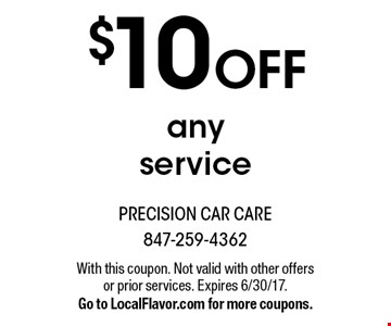 $10 Off any service. With this coupon. Not valid with other offers or prior services. Expires 6/30/17. Go to LocalFlavor.com for more coupons.