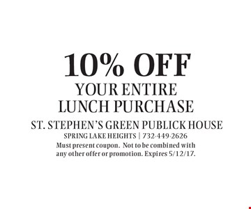 10% OFF your entire lunch purchase. Must present coupon.Not to be combined with any other offer or promotion. Expires 5/12/17.