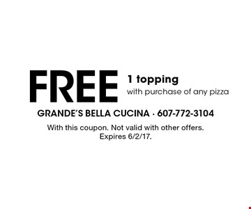 Free 1 topping with purchase of any pizza. With this coupon. Not valid with other offers. Expires 6/2/17.