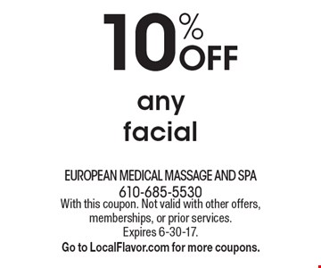 10% OFF any facial. With this coupon. Not valid with other offers, memberships, or prior services. Expires 6-30-17.Go to LocalFlavor.com for more coupons.