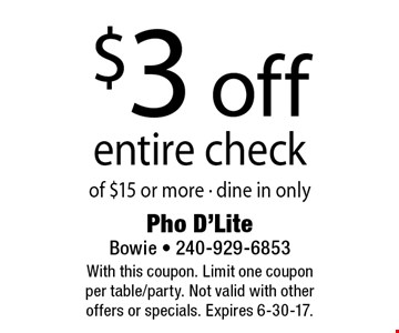 $3 off entire check of $15 or more. Dine in only. With this coupon. Limit one coupon per table/party. Not valid with other offers or specials. Expires 6-30-17.