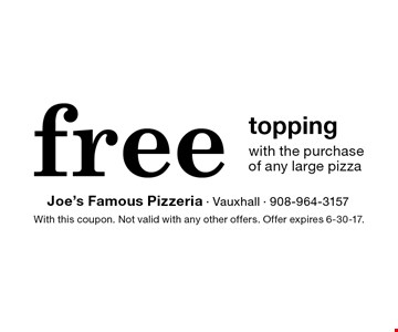 free topping with the purchase of any large pizza. With this coupon. Not valid with any other offers. Offer expires 6-30-17.