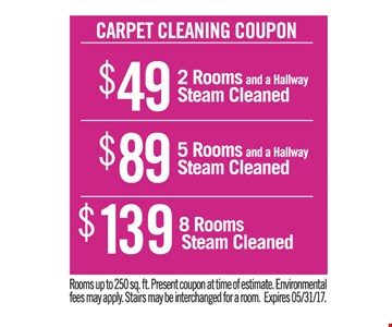 Carpet cleaning coupon $49 - $89 - $139