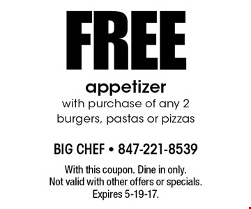 FREE appetizer with purchase of any 2 burgers, pastas or pizzas. With this coupon. Dine in only. Not valid with other offers or specials. Expires 5-19-17.