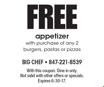 FREE appetizer with purchase of any 2 burgers, pastas or pizzas. With this coupon. Dine in only. Not valid with other offers or specials. Expires 6-30-17.