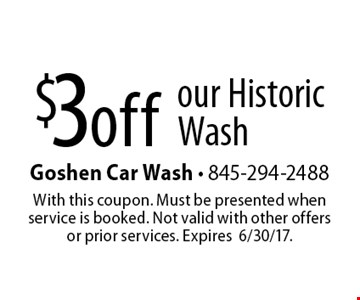$3 off our historic wash. With this coupon. Must be presented when service is booked. Not valid with other offers or prior services. Expires 6/30/17.