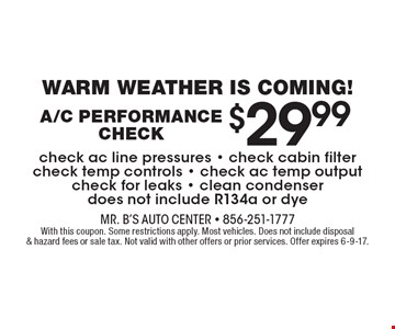 Warm Weather Is Coming! $29.99 A/C Performance Check. Check ac line pressures. Check cabin filter. Check temp controls. Check ac temp output. Check for leaks. Clean condenser. Does not include R134a or dye. With this coupon. Some restrictions apply. Most vehicles. Does not include disposal & hazard fees or sale tax. Not valid with other offers or prior services. Offer expires 6-9-17.
