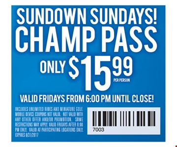 Champ pass only $15.99